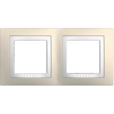 UNICA MGU2.004.859 krycí rámeček dvojnásobný Basic, Cream/Polar /MGU2004859/