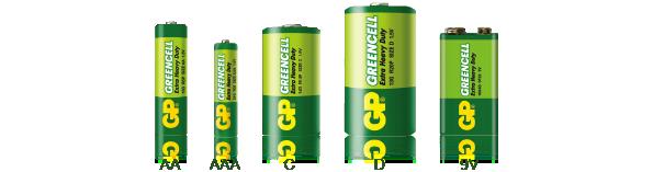 Označení a rozměry baterií